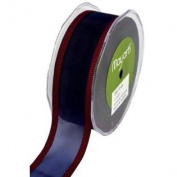 3.8cm Wide Ribbon Navy Sheer with Red Striped Edge