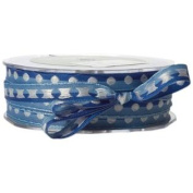 1cm Wide Ribbon Blue with White Dots