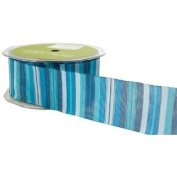 1.6cm Wide Ribbon Blue and Turquoise Stripes