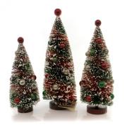 Christmas PRIMITIVE TREE WITH BULBS `Plastic Flocked St/3 Lg4435