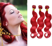 High Quality Red Body Wave Brazilian Hair Extension 18-70cm 100% Brazilian Human Hair Weft Body Wave 1pcs/lot Colour Red