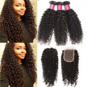 ALI JULIA Cheap Brazilian Virgin Curly Hair Weave 3 Bundles with 1 PC 4*4 Free Part Lace closure 7A Grade 100% Unprocessed Real Human Hair Weft Extensions Natural Colour