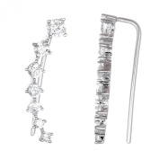 Sterling Silver 925 Cubic Zirconia Curved Bar Crawler Earrings