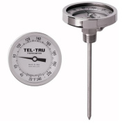Tel-Tru 33100676 Model GT300 Non-Reset Bi-Metal Process Grade Thermometer, Stainless Steel, 7.6cm Dial, 1.3cm NPT Back Connexion, 0-100 Deg C