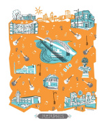Memphis Printed Tea Towel by Tammy Smith Design (Themed Decorative Kitchen Dish Towel 33cm x 43cm ) - Perfect for Mom Kitchen Gifts and More!