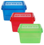 Rectangular Clear Translucent Plastic Storage Containers with Lids, 3-pc Set