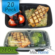 [20 Pack] 2 Compartment 830ml Meal Prep Containers Durable Plastic Reusable Food Storage Container Microwave & Dishwasher Safe w/ Airtight Lid For Portion Control & Bento Box Lunch Box Food Prep