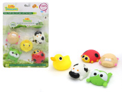 Educational Bath Time Farm Animals - Baby bath toy set for  .   toddlers; with cow, piggy, duck, frog and lady bug characters friends