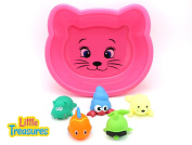 Water World Baby bath toy set for toddlers a hippopotamus, big eyed penguin, loving water seal, fun clown fish, and dashing dolphin