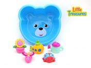Cute Baby bath toy set for  .   toddlers - Interactive educational fun bath time toys includes a submarine, sunflower pot, butterfly, lady bug and water can