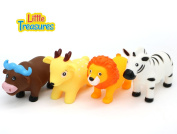 Little Treasures Bathtub Baby Toys for age 19+ months, a collection of four jungle themed bath toys that fill in and squirt water; includes a lion, bull, deer and zebra