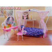 Miniature Furniture Rose Palace Sweet Dream Bed Room for Barbie Doll House Toys for Girl