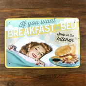 Retro Metal Tin Sign - Breakfast in Bed