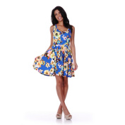 White Mark Women's Fit-and-Flare Floral Skater Dress