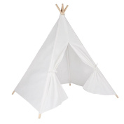 Steegic Outdoor & Indoor Great Canvas Indian Teepee Playhouse for Kids - White