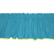 Baby Doll Bedding Solid Reversible Window Valance, Aqua/Yellow