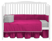 Baby Doll Bedding Solid Reversible Crib Set, Hot Pink/Grey