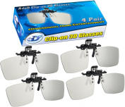 ED CINEMA Clip-On 3D GLASSES 4 PACK For LG 3D TVs - Adult Sized Passive Circular Polarised 3D Glasses