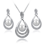 Long Way Gold/Silver Plated Water-drop Pendant Necklace Dangle Earrings Set Austrian Crystal Rhinestone Imitated Pearl Wedding Jewellery Sets For Women