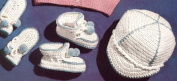 Vintage Crochet PATTERN to make - Baby Boy Visor Cap Hat Booties Set. NOT a finished item. This is a pattern and/or instructions to make the item only.