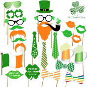 St Patrick's Photo Booth Props , Attached, No DIY Required, Party Decorations Photo Booth Props Irish Day Moustaches