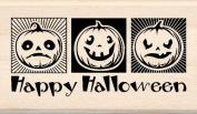 Inkadinkado - Halloween Collection - Wood Mounted Stamps - Three Jack-O-Lanterns