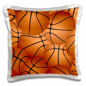 3dRose Basketball Pattern-Orange Brown Basket Balls-Sport Sports Sporty Sporting Game Team Jock Boys-Pillow Case, 41cm by 41cm