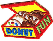 """DONUT FUN"" PATCH - Iron On Embroidered Applique Patch -Food, Breakfast, Treats"