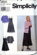 Simplicity 8893 ©1999 Woman's/ Woman's Petite Dress and Knit Cardigan; Sizes 26W-32W