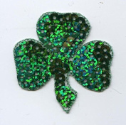 Large Sequin Irish Shamrock Clover Iron on Embroidered Patch