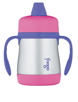 THERMOS FOOGO Vacuum Insulated Stainless Steel 210ml Soft Spout Sippy Cup with Handles, Pink/Purple