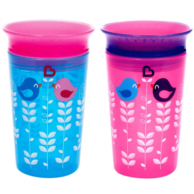 Munchkin Miracle 360 Sippy Cup, Pink/Blue, 2 Count