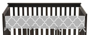 Sweet Jojo Designs Grey and White Trellis Lattice Long Front Rail Guard Baby Teething Cover Crib Protector Wrap