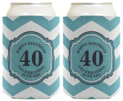 40th Birthday Gifts For All Beer Coolie Celebrating 40 Years Chevron 2 Pack Can Coolie Drink Coolers Coolies Premium Full Colour