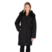 Excelled Women's Polyester Quilted 3/4 Puffer with Faux Fur Collar