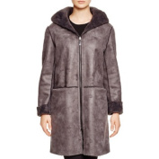 DL2 by Dawn Levy Teddy Grey Shearling Reversible Hooded Coat