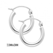 14K White Gold 13 mm in Diameter Classic Hoop Earrings with 2.0 mm in Thickness and Snap Post Closure
