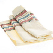 Collection of 12 Square Cream with Gold, Red and Blue Sophia Stripe Cafe Cloth Napkins for Dinner Parties, Decorating and Everyday Use