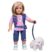American Girl Inspired Doll Clothes By Dress Along Dolly - 8pc Pet Dog Walker Outfit (Includes T Shirt, Vest, Pant, Belt, Shoes, Dog, and Dog Leash and Dog Bone.
