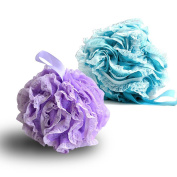 2-Pack Bath Puff Soft Bath Lily Extra-Dense Shower Ball Loofah Sponge Body Exfoliate Pouffe