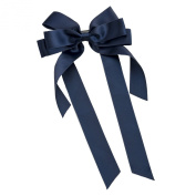 GIZZY® Girls Navy Blue Ribbon Bow with Long Tails On Hair Barette Slide.
