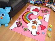 Children's Pink Rainbow Rug High Quality Easy Clean 100 x 160cms