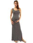 PattyBoutik Mama Striped Scoop Neck Maternity Maxi Dress