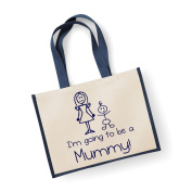 Large Jute Bag I'm Going To Be A Mummy Navy Blue Bag Mothers Day New Mum Birthday Christmas Present