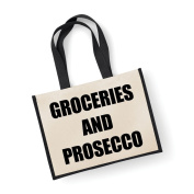 Large Jute Bag Groceries And Prosecco Black Bag Mothers Day New Mum Birthday Christmas Present