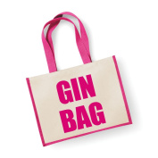 Large Jute Bag Gin Bag Pink Bag Mothers Day New Mum Birthday Christmas Present