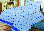 Love2Sleep COT BED DUVET COVER WITH PILLOWCASE- SUPERIOR NATURAL COTTON RICH 120 X 150 CM - BLUE FANTASY