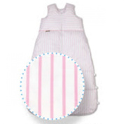 ARO Artländer 87590 Down Sleeping Bag 130 cm (Can Be Reduced to 120 cm and 110 cm), Striped, White/Pink Design