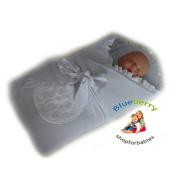 BlueberryShop Jersey Embroidered Swaddle Blanket Wrap for Newborn Baby Stiffened/Hard Back (Removable Sponge Insert) ( 0-3m ) ( 78 x 78 cm ) White