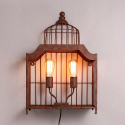 American Vintage Loft Corridor Red Rust Metal Cage Wall Lights Indutrial Balcony Wall Sconce Bar Club Balcony decoration Wall Lamp Fixtures